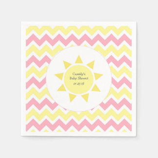 Pink Yellow You are my sunshine theme party Paper Napkins