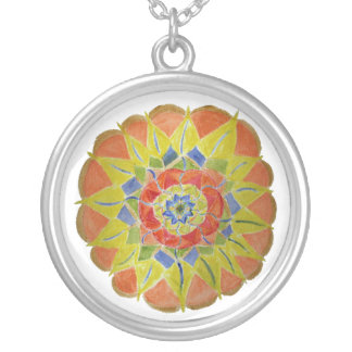 Pink yellwo handpainted mandala Necklace