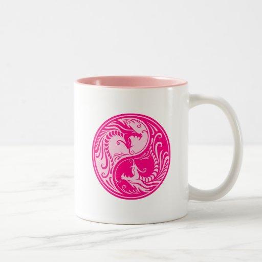 Pink Yin Yang Dragons Mugs