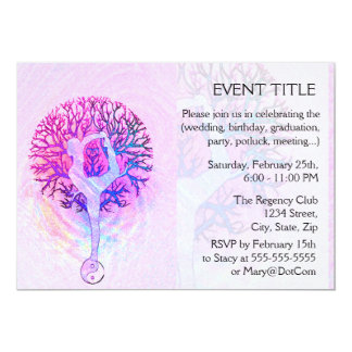 Pink Yoga Tree Woman in Pastel Colors 13 Cm X 18 Cm Invitation Card