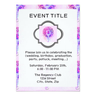 Pink Yoga Tree Woman in Pastel Colors 14 Cm X 19 Cm Invitation Card