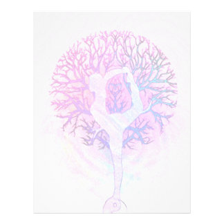 Pink Yoga Tree Woman in Pastel Colors 21.5 Cm X 28 Cm Flyer