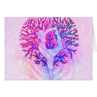 Pink Yoga Tree Woman in Pastel Colors Stationery Note Card