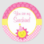 Pink You Are My Sunshine Polka Dot 1st Birthday Round Sticker
