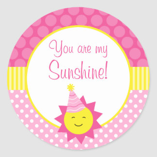 Pink You Are My Sunshine Polka Dot 1st Birthday Round Sticker