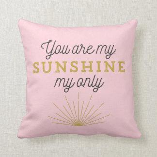 Pink You Are My Sunshine Retro Cushion