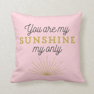 Pink You Are My Sunshine Retro Throw Pillow