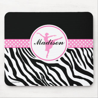 Pink Your Name Zebra Print Ballet Dancer Mouse Pad