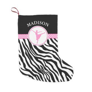 Pink Your Name Zebra Print Ballet Dancer Small Christmas Stocking