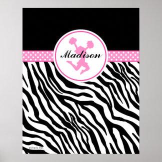 Pink Your Name Zebra Print Cheerleader / Pom