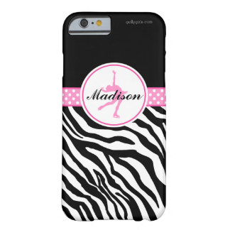 Pink Your Name Zebra Print Figure Skating Barely There iPhone 6 Case