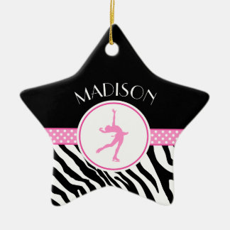 Pink Your Name Zebra Print Figure Skating Christmas Ornament