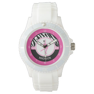 Pink Your Name Zebra Print Figure Skating Wristwatches