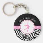 Pink Your Text Zebra Print Figure Skating Basic Round Button Key Ring