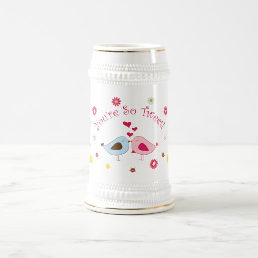 Pink You're so Tweet Cute Love Birds Stein Beer Steins