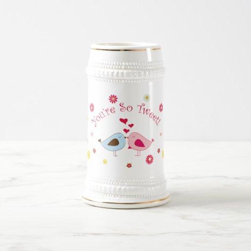 Pink You're so Tweet Cute Love Birds Stein Beer Steins