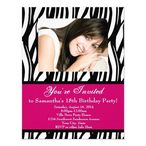 Pink Zebra 18th Birthday Party Custom Invite