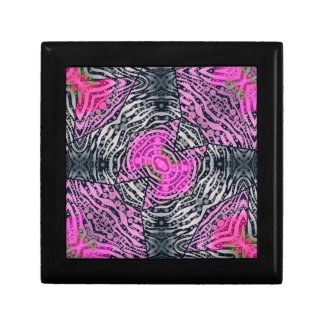 Pink Zebra Abstract Small Square Gift Box