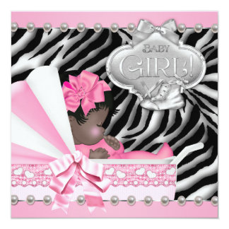 Pink Zebra African American Baby Girl Shower Invites
