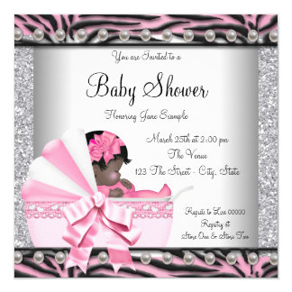 Pink Zebra African American Baby Shower Personalized Invites