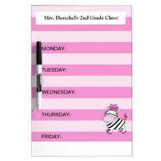 Pink Zebra Agenda Planner Dry Erase Board