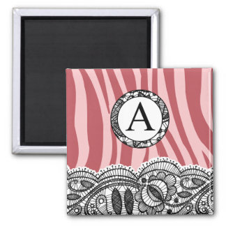 Pink Zebra and Lace Monogram A Square Magnet