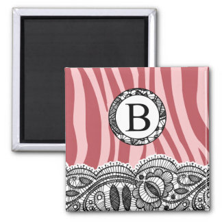 Pink Zebra and Lace Monogram B Square Magnet