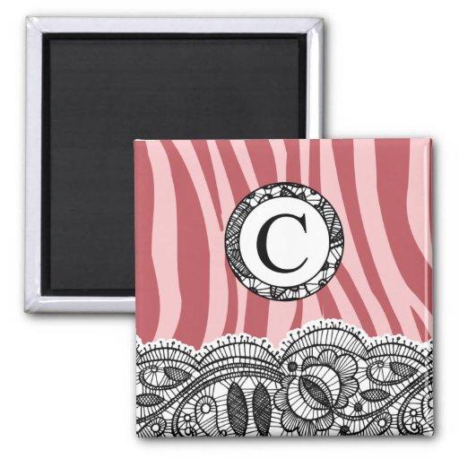 Pink Zebra and Lace Monogram C Fridge Magnets