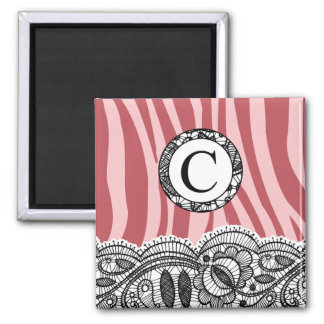 Pink Zebra and Lace Monogram C Square Magnet