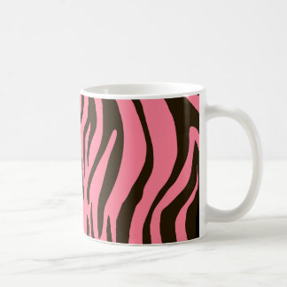 Pink zebra animal print pattern basic white mug