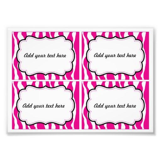 Pink zebra animal print printable labels photo art