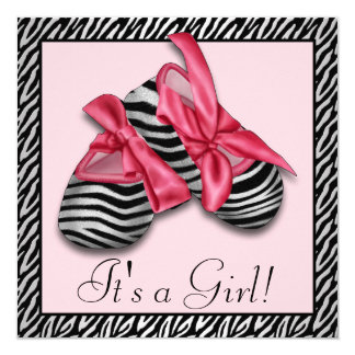 Pink Zebra Baby Booties Baby Shower 13 Cm X 13 Cm Square Invitation Card