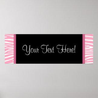 Pink Zebra Baby Shower Banner Poster