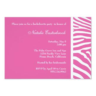 "Pink Zebra Bachelorette Party Invitation 5"" X 7"" Invitation Card"