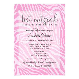 Pink Zebra Bat Mitzvah Invitation
