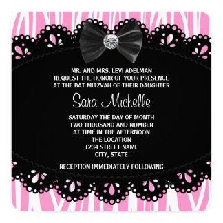 Pink Zebra Bat Mitzvah 5.25x5.25 Square Paper Invitation Card