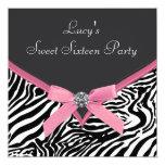 Pink Zebra Birthday Party 13 Cm X 13 Cm Square Invitation Card
