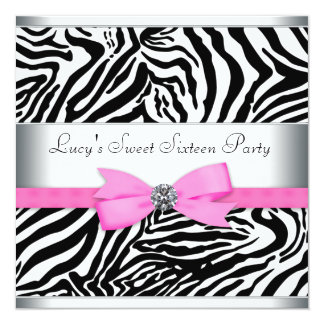 Pink Zebra Birthday Party 5.25x5.25 Square Paper Invitation Card