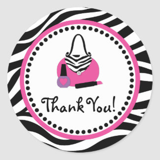 Pink Zebra Birthday Spa Diva Party Favor Round Sticker
