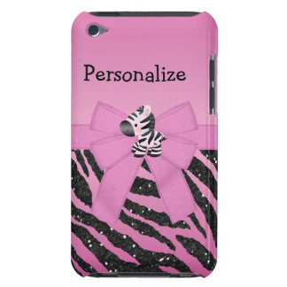 Pink Zebra, Bow & Glitter Animal  Barely There iPod Covers