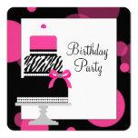 Pink Zebra Cake Cupcake Birthday Party 13 Cm X 13 Cm Square Invitation Card