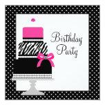 Pink Zebra Cake Cupcake Birthday Party Invitations