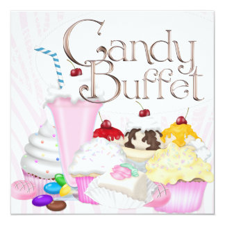 Pink Zebra Candy Buffet Party Card