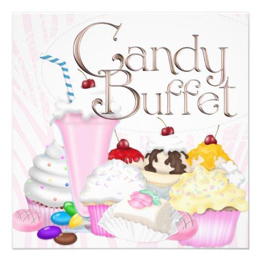 Pink Zebra Candy Buffet Party Custom Invite