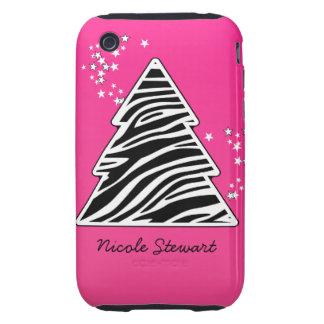 Pink zebra Christmas Tree iPhone 3 Tough Cases