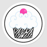 Pink Zebra Cupcake Stickers