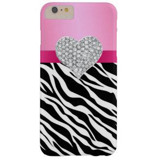 Pink Zebra Diamond Heart iPhone 6 Case