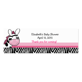 Pink Zebra Diva Stripe Shower / Birthday Favor Tag Business Card Templates