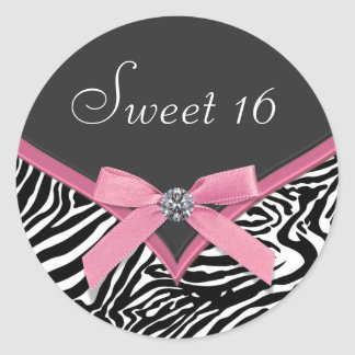 Pink Zebra Envelope Seal Sticker