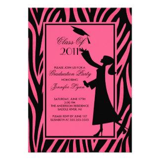 Pink Zebra Graduation Invitation Silhouette Grad